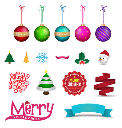 Set of Christmas object. Vector illustration. Can use for printing and web element christmas and happy new year. Vector