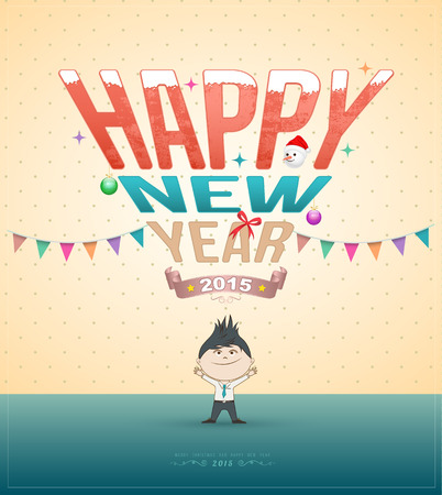 Happy new year test with cartoon. Vector illustration. Can use for new year card. New year festival. Printing and web element Vector
