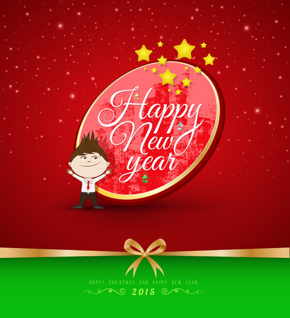 Happy new year lettering. Vector illustration. Can use for new year card. Vector