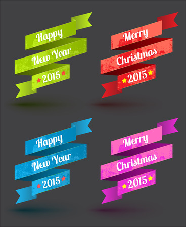 Ribbon set merry christmas and happy new year. Vector illustration. Can use for element christmas and new year element.