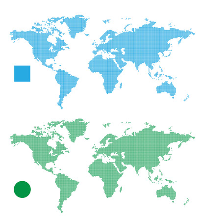 World Maps abstract rectangle and dot. Vector Illustration Illustration
