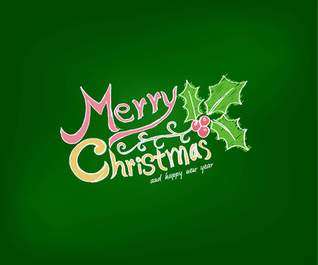 Christmas Greeting Card. Merry Christmas lettering,