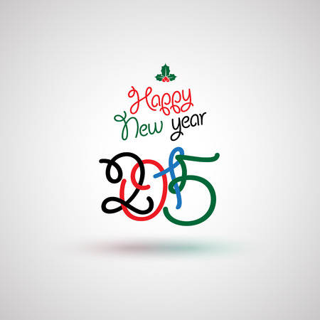 Happy new year  greeting card lettering. Vector illustration.