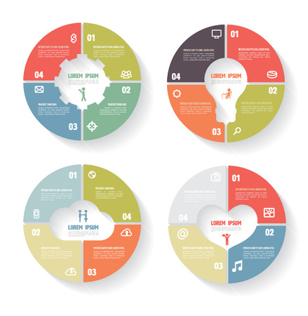 Vector circle infographic set. Gear, bulb, Cloud, Heart, Template for diagram, Business concept with icons.