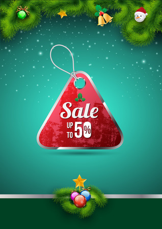 Sale tag on christmas background. Vector illustration. Vector