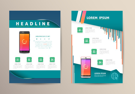 magazine page: Brochure Flyer design vector template with smartphone. Vector illustration. Illustration