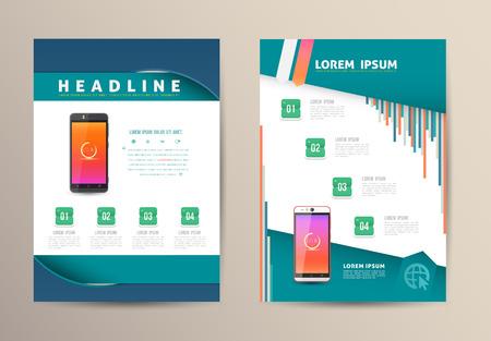 Brochure Flyer design vector template with smartphone. Vector illustration. Vettoriali