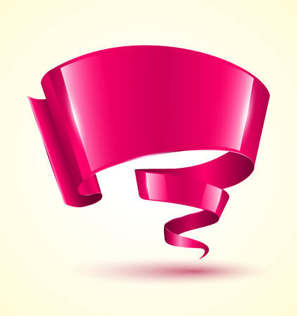 Pink ribbon banner twist. Vector illustration.