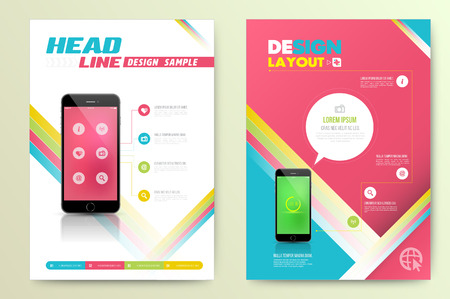 Brochure Flyer design vector template with smartphone. Vector illustration. Çizim