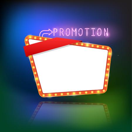 Abstract retro light promotion banner. Vector illustration Vector