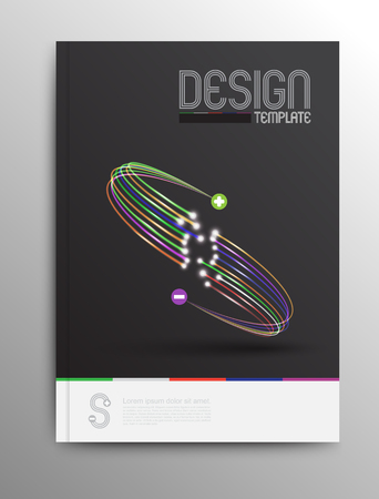 Brochure Design Template, Business Abstract fiber optic style, Web or Print Design