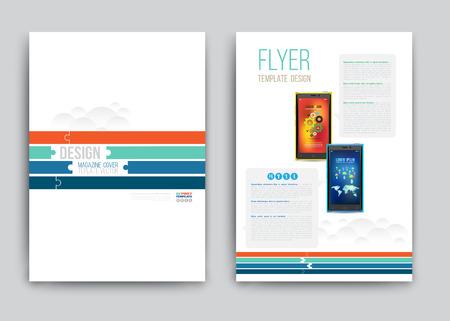 brochure: Business Brochure template with smartphones. Vector illustration.