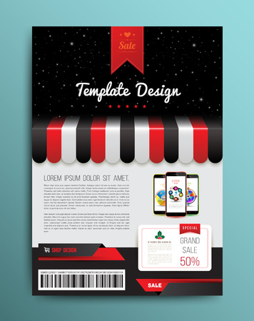 flyer party: Vector brochure template design with shop and smartphone. Vector illustration.