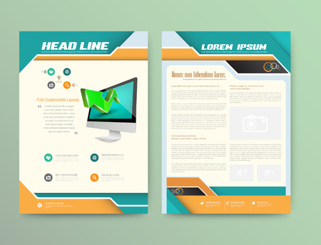magazine page: Abstract Vector Brochure Template. Flyer Layout. Flat Style. Infographic Elements.