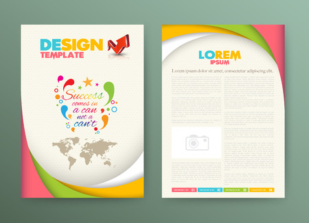 page layout: Brochure Flyer design Layout template with success comes in a can not a cant. Illustration