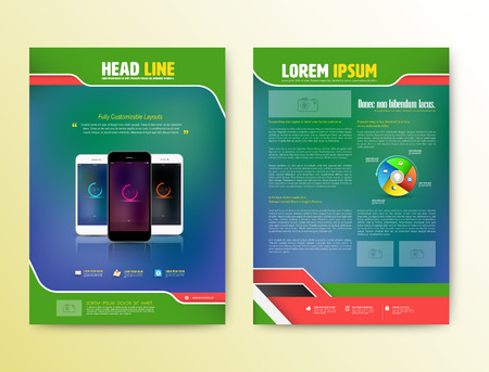 magazine layout: Abstract Vector Brochure Template with smartphones. Flyer Layout. Flat Style. Infographic Elements. Vector illustration.