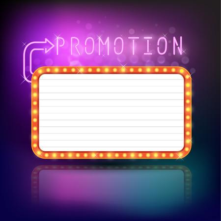 Retro vintage frame banner promotion - light bulb shimmering casino or cinema theater sign. Vector illustration. Vettoriali