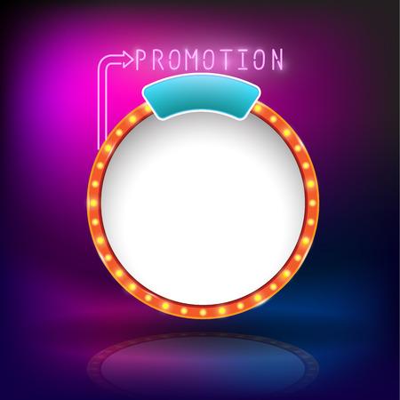 Retro vintage circle frame promotion neon - light bulb shimmering casino or cinema theater sign. Vector illustration Ilustração