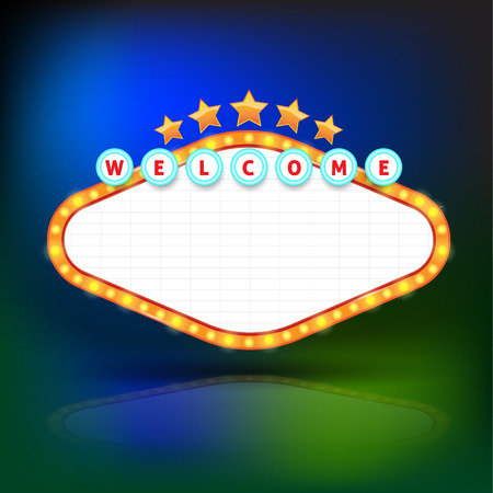hotel sign: Brightly glowing retro banner. Retro Banner Promotion. Theatre cinema board style. Vector illustration.