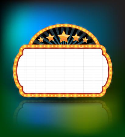 Showtime Retro Signs. Retro vintage frame banner promotion - light bulb shimmering casino or cinema theater sign. Vector illustration. Ilustracja