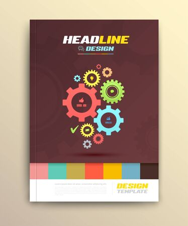 rackwheel: Brochure cover design with cog wheels Templates. Abstract Flyer Modern Backgrounds. Illustration