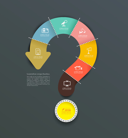 Vector question mark arrow with icons. can use for info-graphic, loop business report or plan, modern template, education template, business brochure, system diagram. Vector illustration Vettoriali