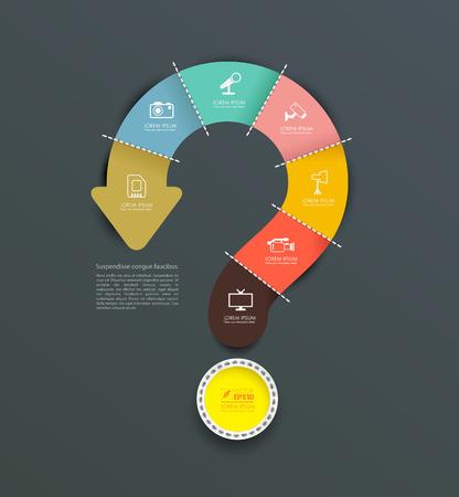 punto di domanda: Vector interrogativo freccia con le icone. può usare per info-grafico, relazione cappio affari o di un piano, modello moderno, modello di formazione, brochure aziendale, schema del sistema. Illustrazione vettoriale