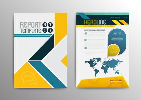 Diseño de la plantilla folleto del vector con el mapa del mundo. Ilustración del vector. Se puede utilizar para el folleto de negocios.