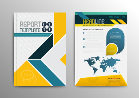 blank book cover: Vector brochure template design with world map. Vector illustration. Can use for business brochure.
