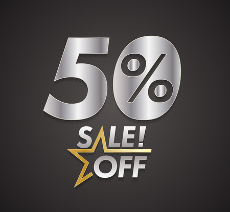 financial year: Fifty percent sale off with star. Vector illustration.