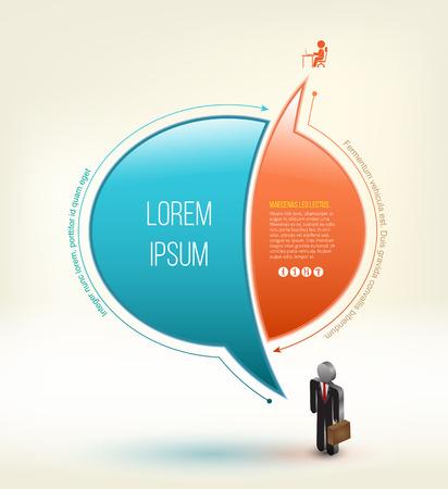 personas comunicandose: Diseño idea del discurso con el icono de hombre de negocios 3D. Ilustración del vector. Se puede utilizar para el elemento concepto de negocio. Vectores