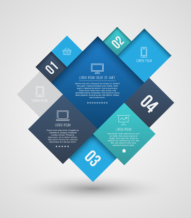 Vector square group with icons number for brochure, flyer, magazine cover & poster template, and business concept. Vector illustration.