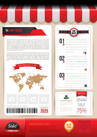Vector brochure template design shop style. Vector illustration. Can use for business data report, presentation, web page, brochure, leaflet, flyer, poster and advertising.