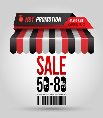 Hot promotion sale poster roof shop with \\\\\\\\\\\\\\\SALE 50-80\\\\\\\\\\\\\\\ and bar code. Vector illustration.