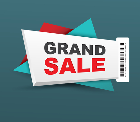 grand sale icon: Grand sale banner with barcode. Vector illustration. Can use for promotion.