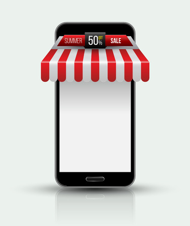 Mobile phone. Mobile store concept with awning. Vector illustration. Illustration