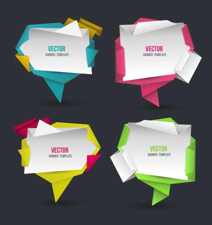 Abstract modern origami speech bubble set. Vector abstract background. Vector illustration. Vector