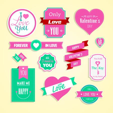 Happy valentines day cards element set. Vector illustration.