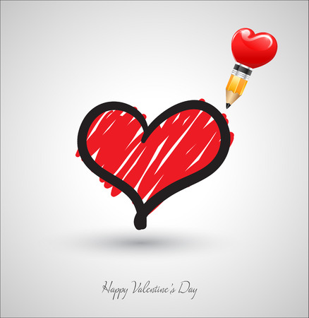 Art heart drawing with pencil. Vector illustration. Can use for wedding and valentines day. Vector