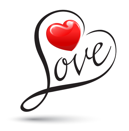 tagging: Love with heart typography. Love calligraphy. Vector illustration. Can use element for love concept about wedding and valentines day. Illustration
