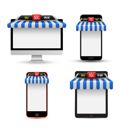 On line store. Sale, Gadget with awning set. Vector illustration. Vector