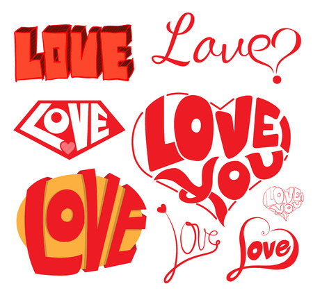 Love & Hearts Sketchy Notebook Doodles Design Elements. Vector Illustration. Can use for Wedding and Valentines Day. Vector