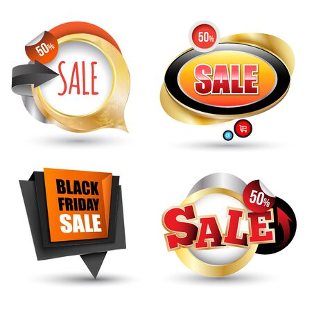 promotion icon: Sale banner set. Vector illustration. Can use element for promotion. Illustration
