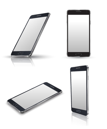 Mobiele telefoon die op wit. Realistische smartphones vector set. Vector illustratie.