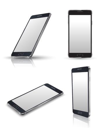 Mobilní telefon na bílém. Realistické smartphony vektor sadu. Vektorové ilustrace.