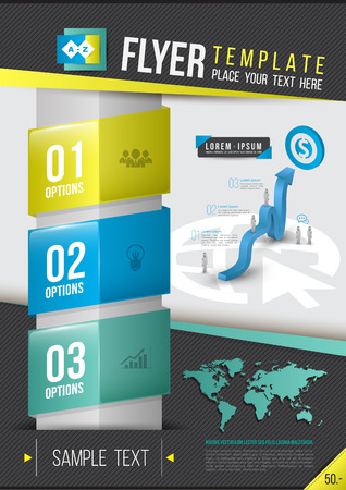 Modern Vector abstract brochure, report, document or flyer design, magazine cover, poster template. Vector illustration.