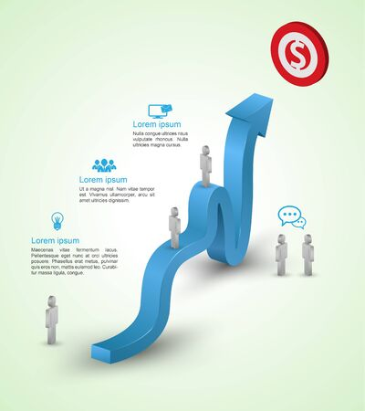 upward: illustration of arrow growing upward to target. Infographics template with man icons. Vector illustration. Illustration