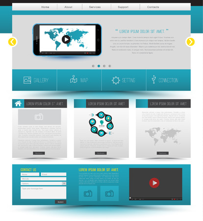 website template: Website template design. Smartphone concept technology. Vector illustration.