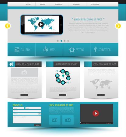 vdo: Website template design. Smartphone concept technology. Vector illustration.