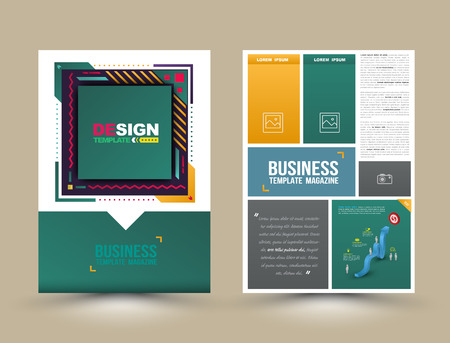Vector brochure, flyer, magazine cover and poster template. Vector illustration. Çizim